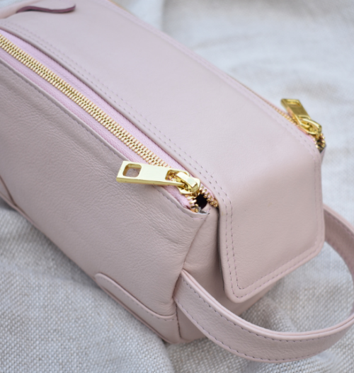Genuine Leather Pink Zip Up Toiletry Bag Made in South Africa with personalisation