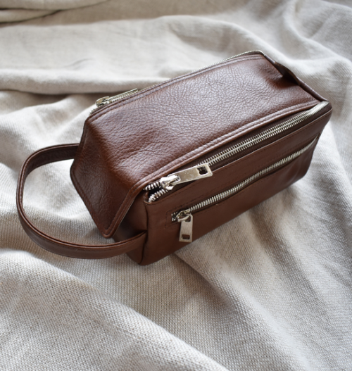 Genuine Leather Saddle Brown Zip Up Toiletry Bag Made in South Africa with personalisation