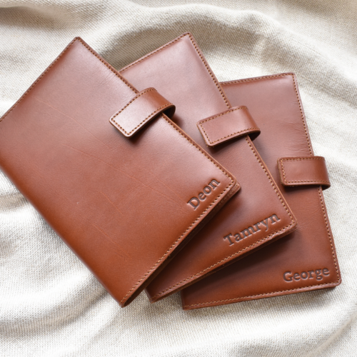Genuine Leather Slip On Notebook Cover- Made in South Africa with personalisation