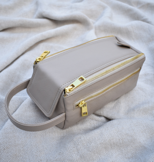 Genuine Leather Taupe:Stone Zip Up Toiletry Bag Made in South Africa with personalisation