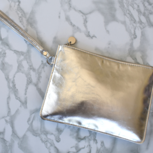 Genuine Leather Metallic Silver Perfect Pouch- Handcrafted in South Africa