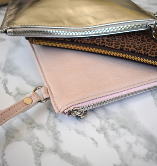 Genuine Leather Perfect Pouch with silver hardware- Handcrafted in South Africa