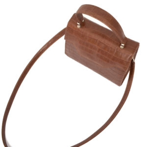 Hazel Brown Genuine Leather Croc Print Kelly Style Handbag- Proudly Made in South Africa