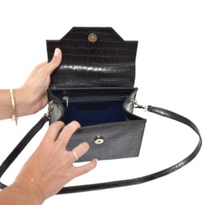 Classic Black Genuine Leather Croc Print Kelly Style Handbag- Proudly Made in South Africa