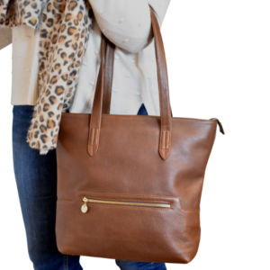 Grand Genuine Leather Tote in Silky Brown Personalised-Handbag- Made in South Africa with custom personalisation