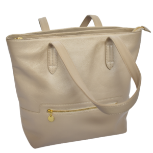 Grand Genuine Leather Tote Personalised-Handbag- Made in South Africa with custom personalisation Stone/Taupe
