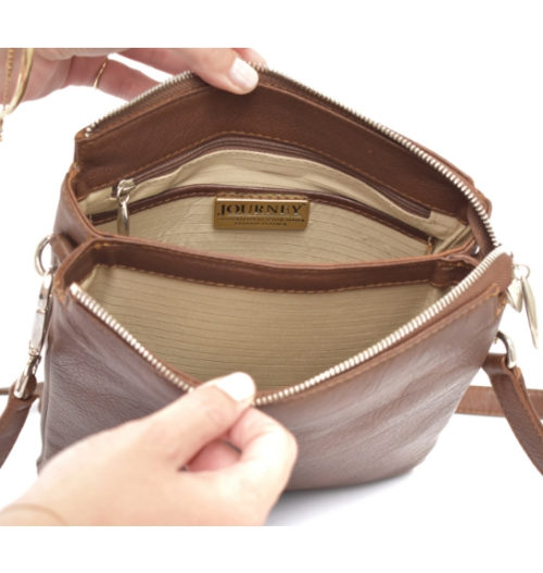 Saddle Brown Genuine Leather Double Compartment Crossbody Handbag Genuine Leather Made in South Africa Everyday Handbag