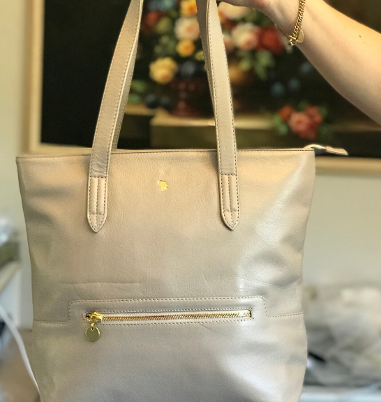 Genuine Leather Tote Handbag Made in South Africa Classic Taupe/Beige with Custom Personalisation