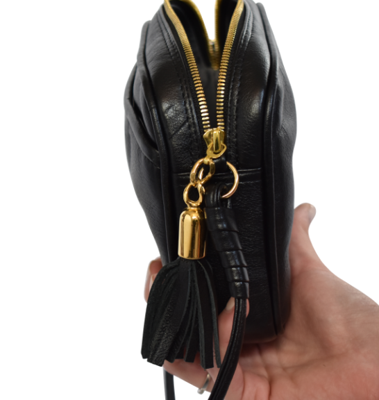 Genuine Leather Crossbody sling bag- Made in South Africa with Custom personalisation- Black