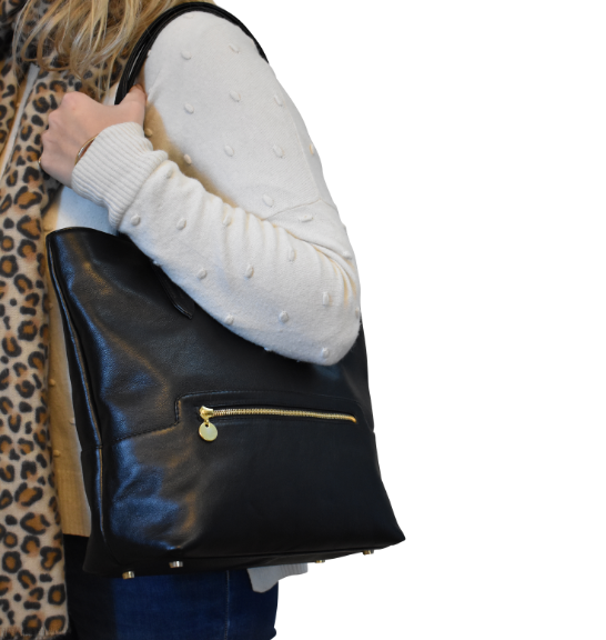 Grand Genuine Leather Tote in Classic Black Personalised-Handbag- Made in South Africa with custom personalisation