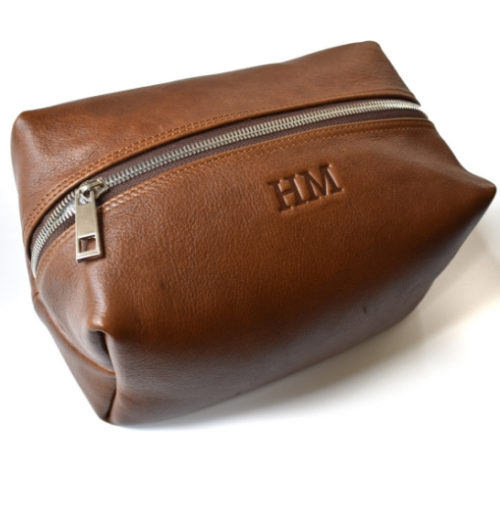 Genuine leather Travel Toiletry Loaf Cosmetic Bag- Brown with custom names or initials- Made in South Africa