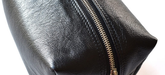 Genuine leather Travel Toiletry Loaf Cosmetic Bag- Black with custom names or initials- Made in South Africa