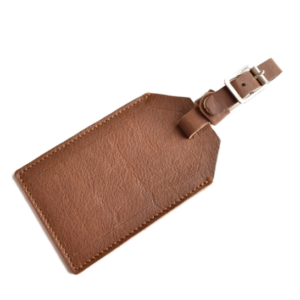 Genuine Leather Luggage Tag Made in South Africa- Saddle Brown