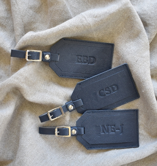 Navy Genuine Leather Personalised custom Luggage Tag Made in South Africa