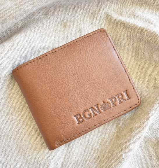 Brown Genuine leather Mens Bi fold wallet- made in South Africa
