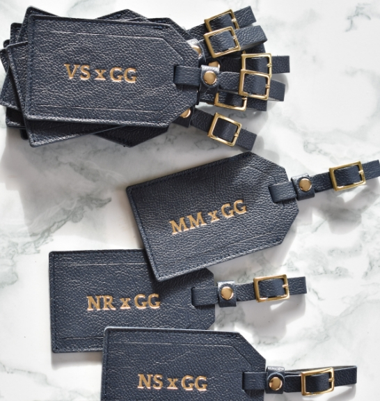 Genuine Leather Personalised custom Luggage Tag Made in South Africa- Navy Leather