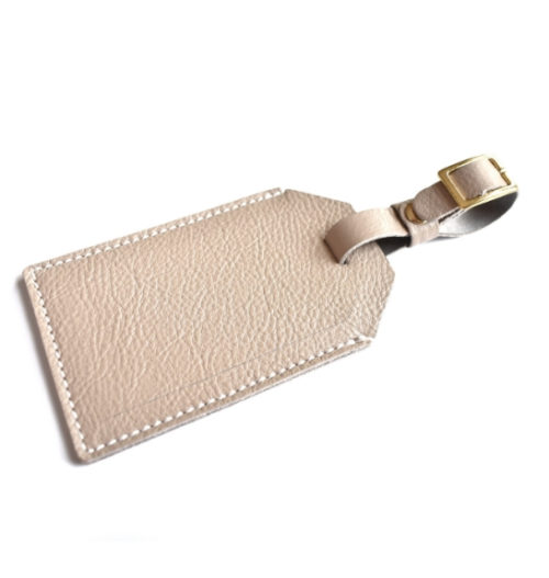 Genuine Leather Personalised custom Luggage Tag Made in South Africa- Taupe / Beige Leather
