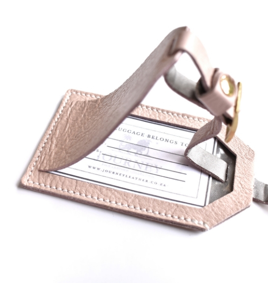 Genuine Leather Personalised custom Luggage Tag Made in South Africa- Pink Leather