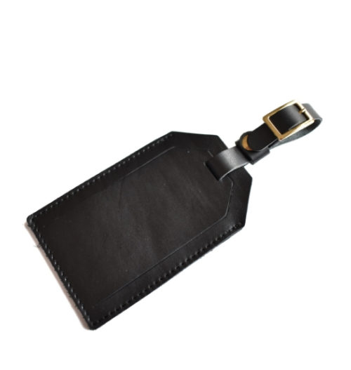 Genuine Leather Personalised custom Luggage Tag Made in South Africa- Black Leather