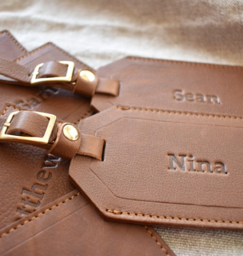 Genuine Leather Personalised custom Luggage Tag Made in South Africa- Saddle Brown