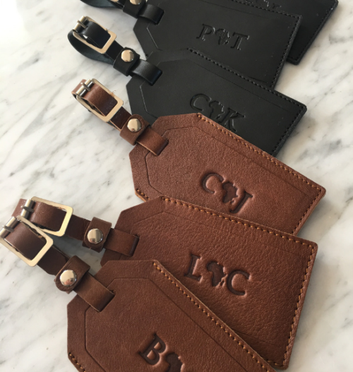 Genuine Leather Luggage Tag with perosnalised name detail. Handcrafted in South Africa with pride by Journey Leather.