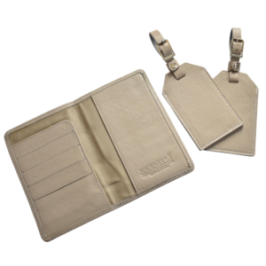 Genuine leather Personalised travel gift set- Passport cover and luggage tags Handcrafted in South Africa- Taupe