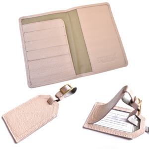 Genuine leather Personalised travel gift set- Passport cover and luggage tags Handcrafted in South Africa- Ballet Pink