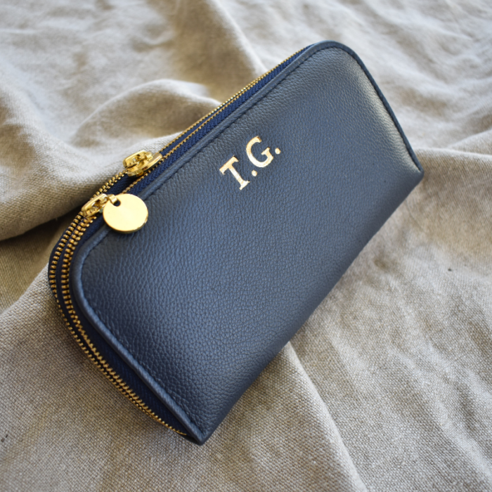 Double genuine leather ladies purses/wallets in Royal Navy- Handmade in South Africa
