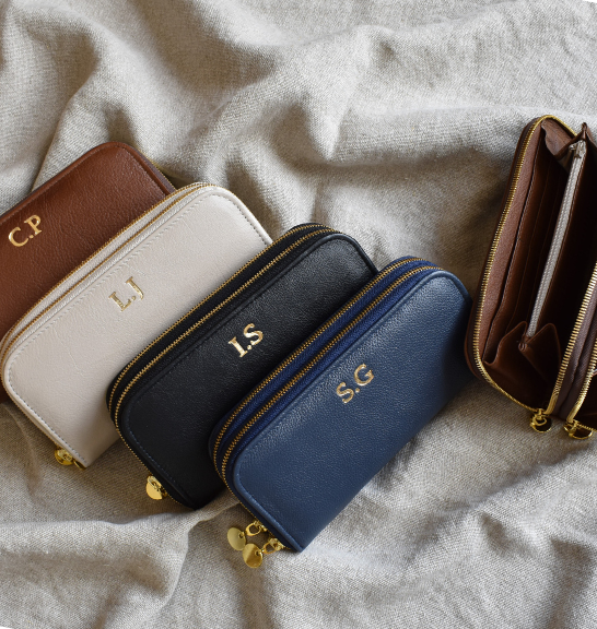 Navy Double Zip Ladies Purse/Wallet Made in South Africa Genuine Leather with Personalisation
