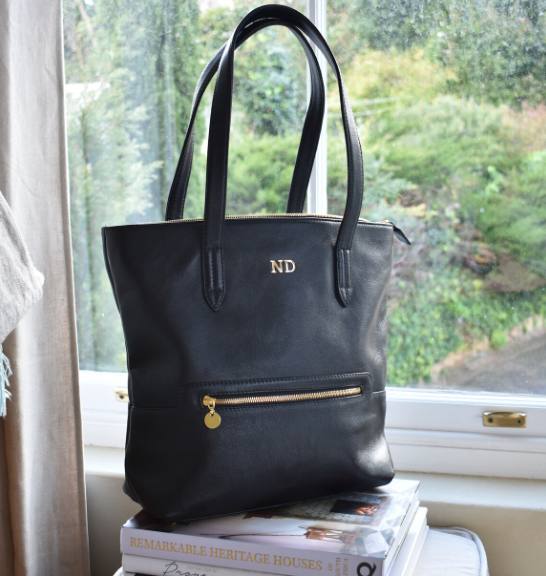 Genuine Leather Tote Handbag Made in South Africa Classic Black