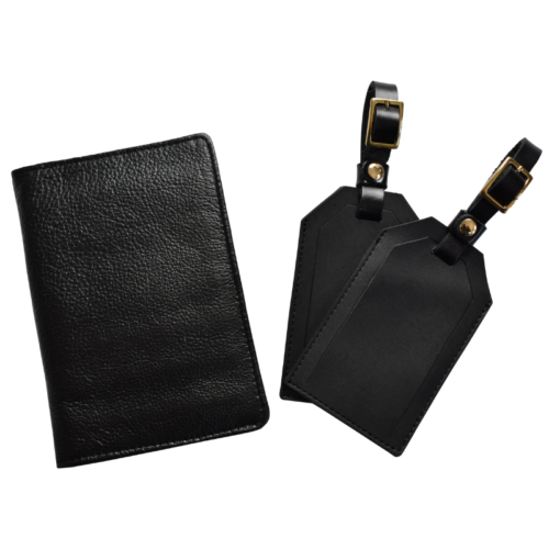 Genuine leather Personalised travel gift set- Passport cover and luggage tags Handcrafted in South Africa- Black