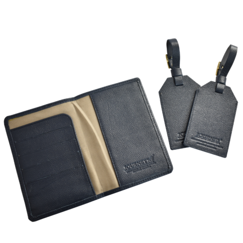 Genuine leather Personalised travel gift set- Passport cover and luggage tags Handcrafted in South Africa- Royal Navy