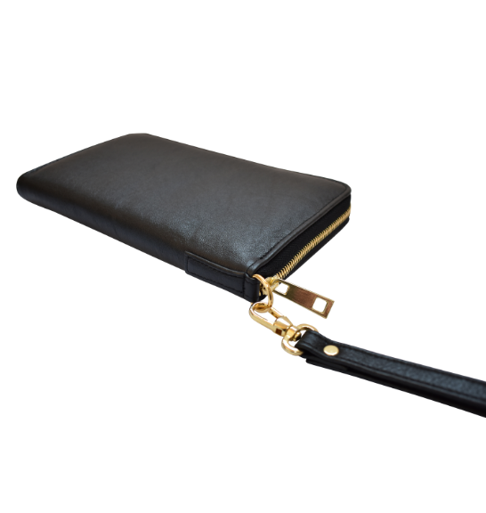 Genuine Leather Travel Wallet- made in South Africa with custom Personalisation -Black