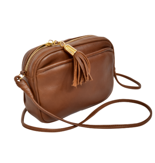 Genuine Leather Crossbody sling bag- Made in South Africa with Custom personalisation- Brown