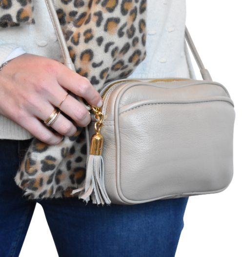 Genuine Leather Crossbody sling bag- Made in South Africa with Custom personalisation- Stone/Beige/Taupe