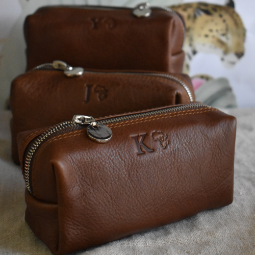 Genuine Leather- Saddle Brown Small Loaf Cosmetic Pencil Bag with silver trims -Made in South Africa with personalisation