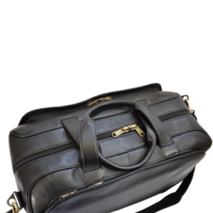 Genuine Leather Large Premium Travel Duffel Bag, Handcrafted in South Africa Classic Black