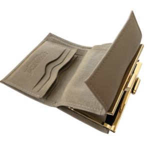 Genuine Leather Classic Ladies Gold Clip Purse, Proudly hand-crafted/Made in South Africa