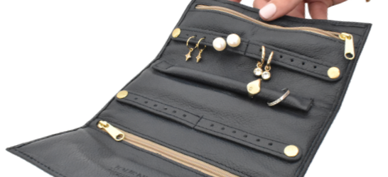 Genuine Leather Jewellery Roll Personalised- Made in South Africa with custom personalisation- Journey Leather