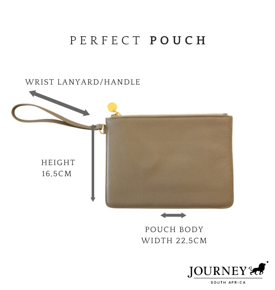 Genuine Leather Perfect Pouch with Wrist Lanyard handle. Proudly handcrafted in South Africa by Journey Leather.