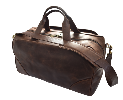 Genuine Leather Large Premium Travel Duffel Bag, Handcrafted in South Africa Classic Silky Brown