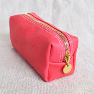 Genuine leather small makeup loaf bag- Neon pink with Monogram- Made in South Africa