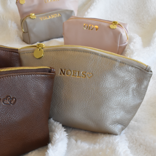 GENUINE LEATHER-SHIMMER AND GOLD LUNA COSMETIC BAG- HANDCRAFTED IN SOUTH AFRICA WITH PERSONALISATION