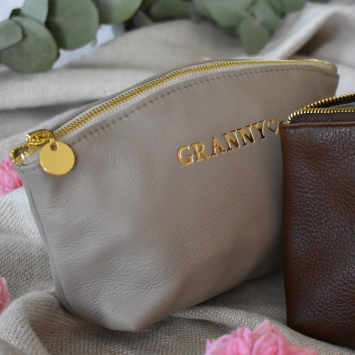 GENUINE LEATHER-TAUPE AND GOLD LUNA COSMETIC BAG- HANDCRAFTED IN SOUTH AFRICA