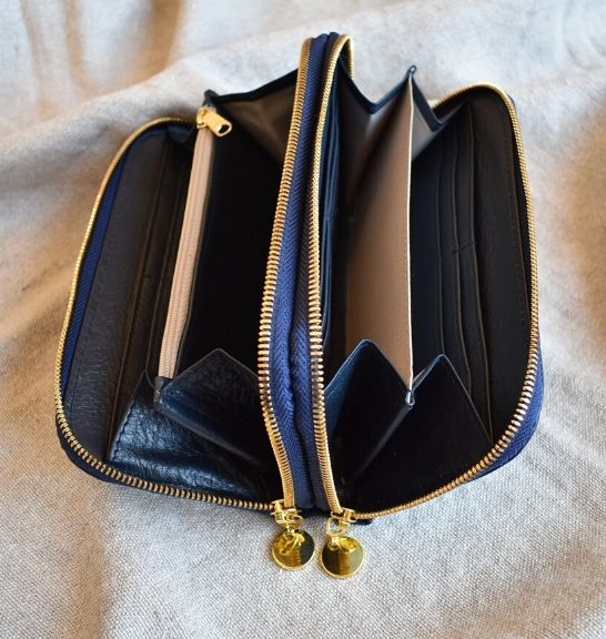 Genuine Leather Double Zip Purse with gold trim Made in South Africa2