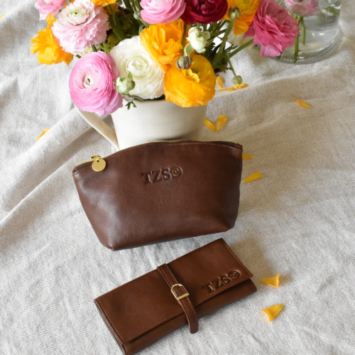 Genuine Leather Silky Saddle Brown Luna Cosmetic Bag and Jewellery Roll- Made in South Africa with personalisation
