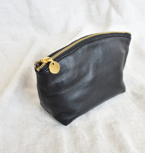 Genuine Leather Hand crafted make-up cosmetic bag with custom personalisation, names or initials- Gifting