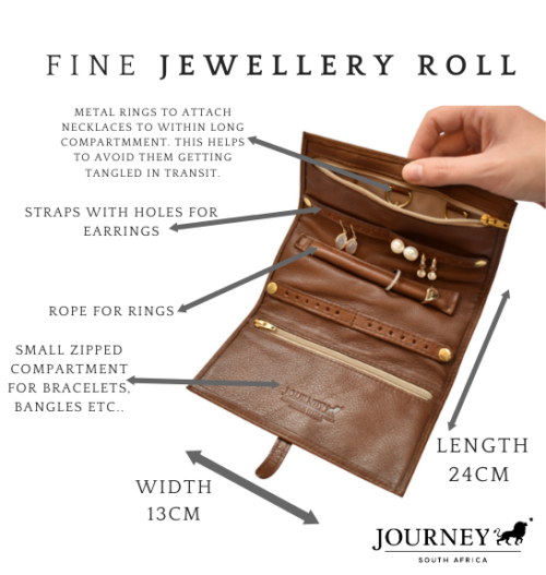 Genuine Leather Jewellery Roll. Proudly handcrafted in South Africa by Journey Leather.