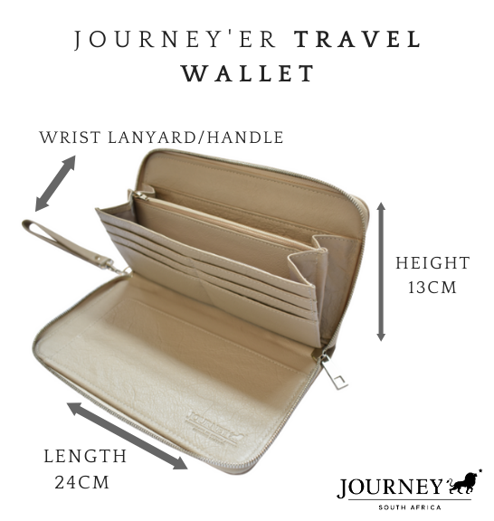 Genuine Leather Travel Wallet. Proudly handcrafted in South Africa by Journey Leather. Available with monogramming.