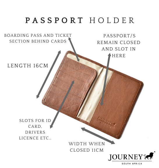 Genuine Leather Passport Holder. Proudly handcrafted in South Africa by Journey Leather.